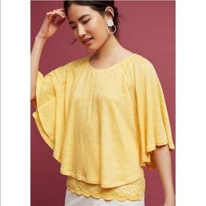 ANTHRO | Akemi + Kin Yellow Linen Cape Top